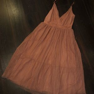 Express Peach Tulle Prom Dress